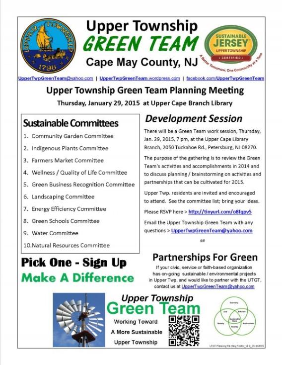 Upper Twp. Green Team Work Session for Thursday, Jan. 29, 2015